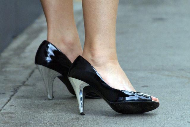 street shot silver heels