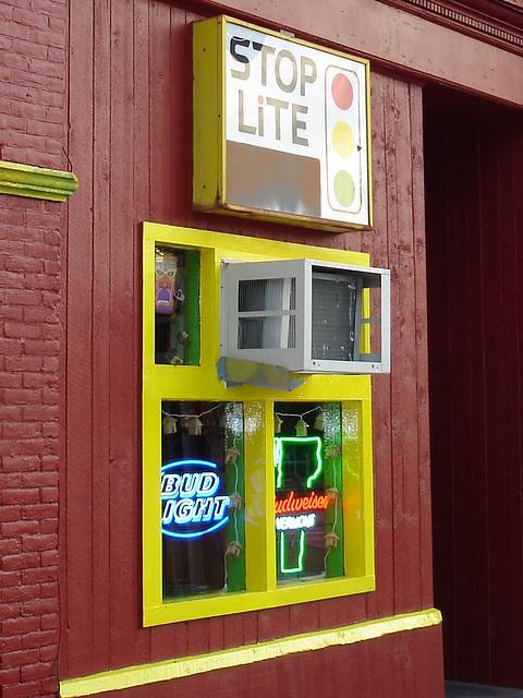 Rutland. Vermont USA - 25-07-2009-  Stop lite bar close-up