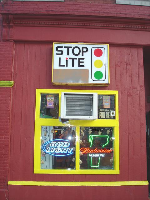 Rutland. Vermont USA - 25-07-2009  Stop lite bar