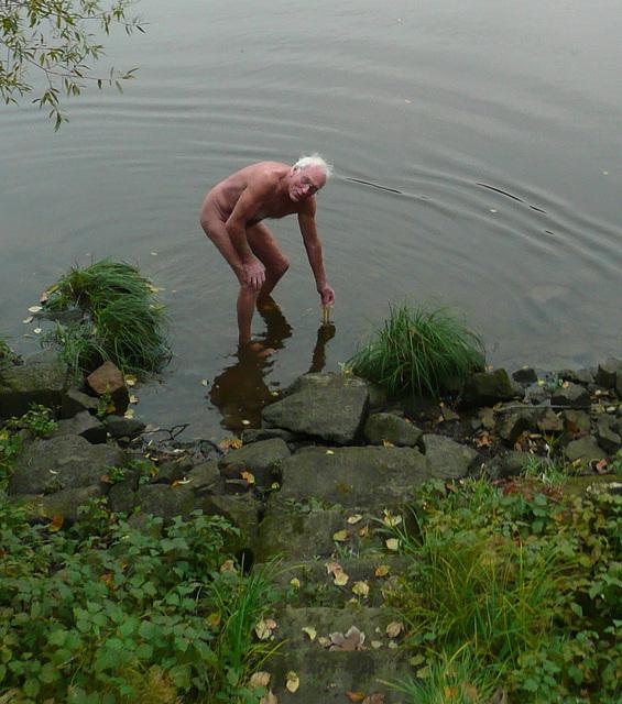 Bad in der Elbe am 22.10.2009