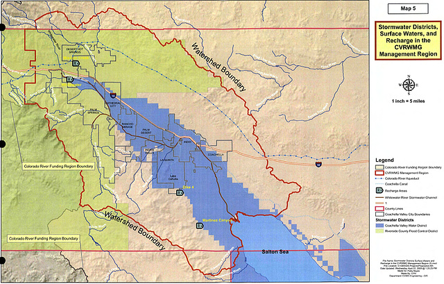 Map 5 - Stormwater Districts, Surface Waters, and Recharge in the CVRWMG Managem
