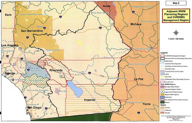 Map 8 - Adjacent IRWM Planning Regions and CVRWMG Management Region