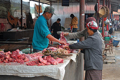 Fresh butcher products sold at the market