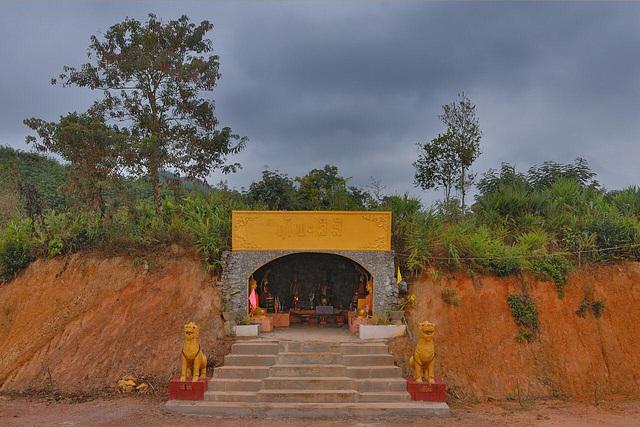 Holy cave behind Wat Luang Kone