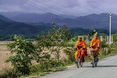 Biking along the main road