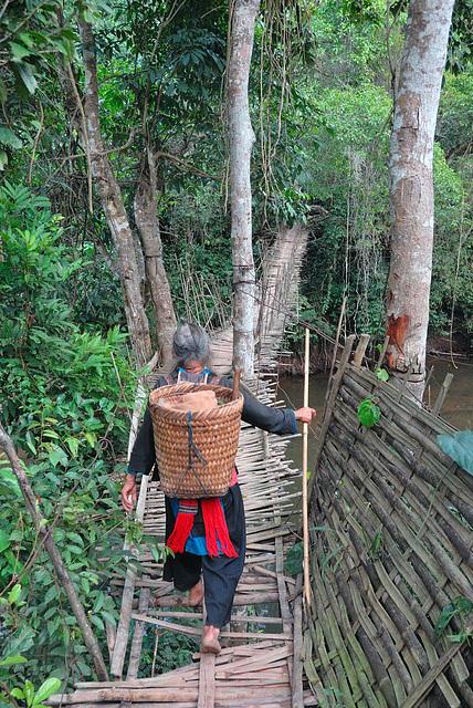 An adept crossing the bridge