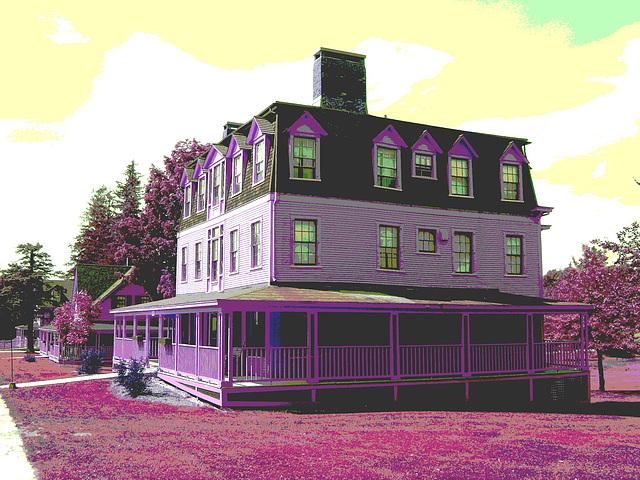 Campus Louise sur route 125. Green Mountains. Vermont , États-Unis / USA.  25 juillet 2009  -  Inversion  RVB postérisée