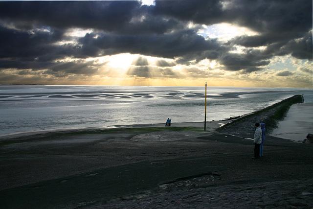 coucher de soleil, baie de l' authie, berck