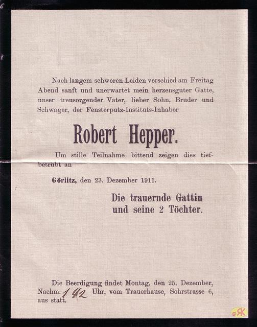 Robert Hepper, Urgroßvater