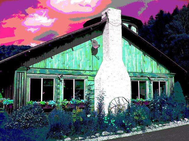 Peavine restaurant  -  Route 107. Vermont USA  - 25 juillet 2009- RVB postérisé