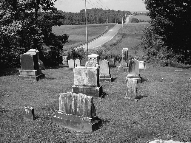 Whiting church cemetery. 30 nord entre 4 et 125. New Hampshire, USA. 26-07-2009 -  N & B