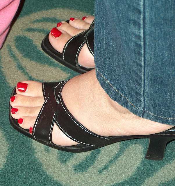 red toes in athena alexander sandals