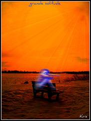 Randonnée en raquettes - Snowshoe run/ Banc solitaire dans la neige  - Grande solitude
