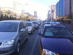 Cars standing on Jianguomen Wai