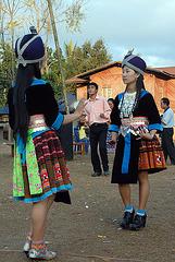 Hmong girls dancing at Tsa Hauv Toj festival