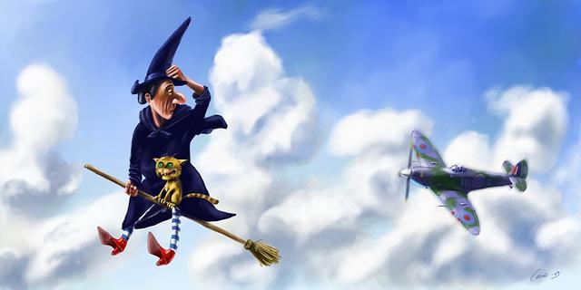 Poursuite de sorcière en avion.  C'est le temps de l'Halloween ! - Plane chase witch.  Halloween time !