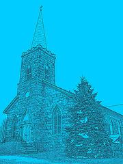 Église et cimetère  - Contours noirs en bleu photofiltré