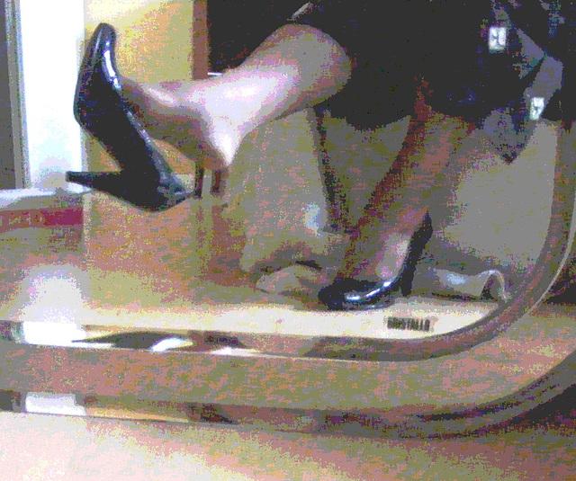 Mon amie chérie Krisontème avec permission - Nouveaux escarpins en cuir patent de 12 cm -  Dangle suprême .  Style peinture.