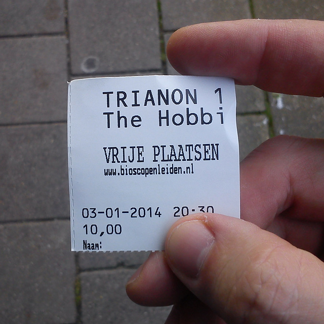 Movie ticket for The Hobbit