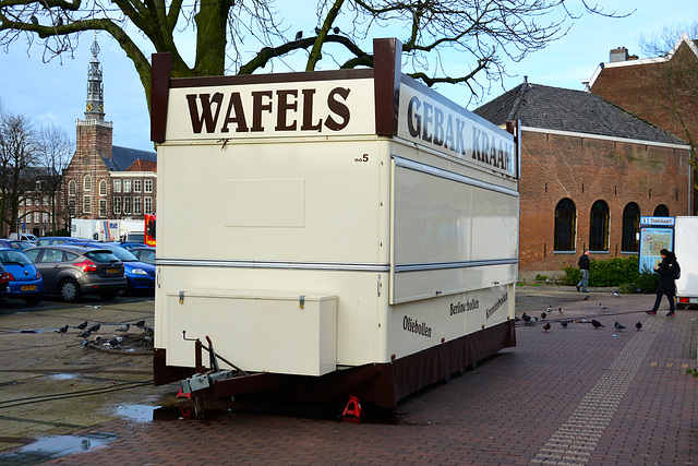 Closed waffle and oliebollen stall