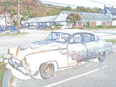 Psychedelic old car for sale / Vieille voiture psychédélique à vendre - Contours de couleurs