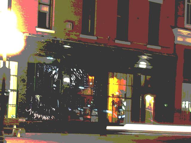 Rutland  /   USA - États-Unis -  25 juillet 2009  -  Bancs et fenêtres. Postérisation