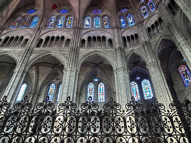 PA049341ac Bourges Cathedral Choir Upper Windows and Iron Gates