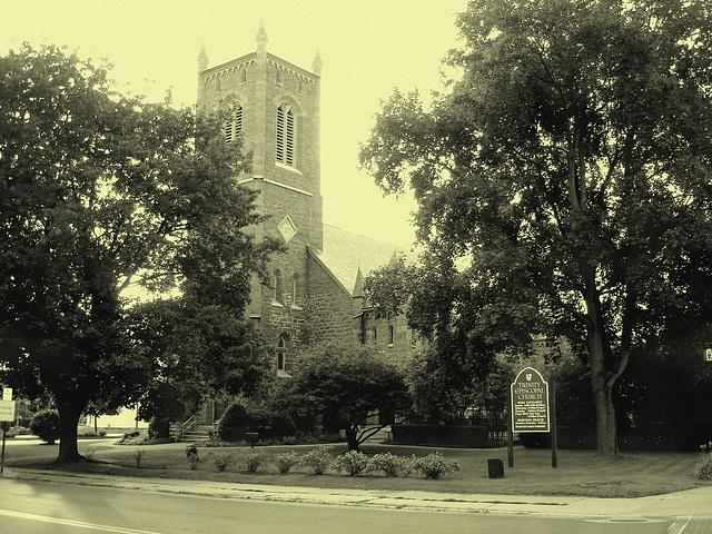 Rutland, Vermont USA -  Trinity episcopal church . Vintage
