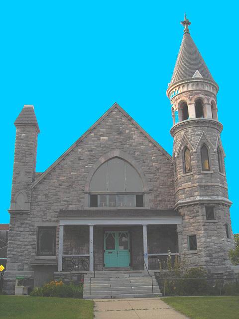 Rutland, Vermont USA  /  25-07-2009 -  Trinity episcopal church avec ciel bleu photofiltré