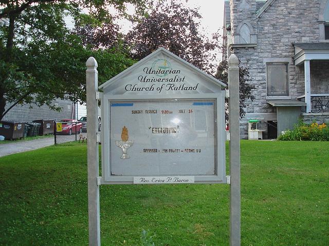 Rutland, Vermont USA  /  25-07-2009-  Unitarian universalist church sign.