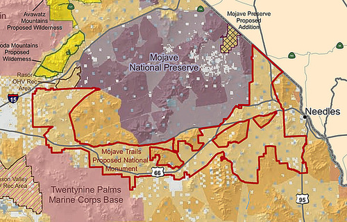Mojave Trails National Monument map