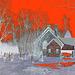 St.Marys Anglican church Como et cimetière - Hudson QC.  25-03-2010 - Négatif au ciel et neige rouge
