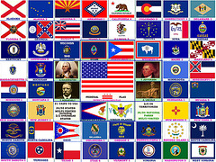 United States of America Flags and Nation Fathers