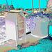 US relay mail /  Portland's marina - Maine USA -  11 octobre 2009-  Ciel rouge postérisé en négatif