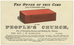 The Owner of This Card Has Purchased One Brick in the People's Church, Boston, Mass., ca. 1880