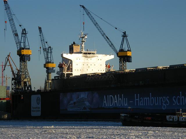 Großes Containerschiff bei Blohm & Voss, Elbe, Hamburg