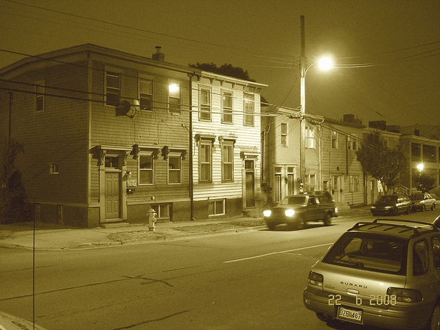 Halifax by the night .  Canada.  June / Juin 2008 - Sepia