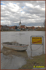 Flood water at ferry boat Mainstockheim