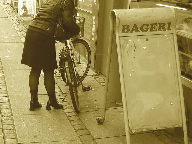 Bageri blonde Danish mature biker in chunhy hammer heeled boots /  Copenhagen, Denmark - 19-10-2008- Sepia