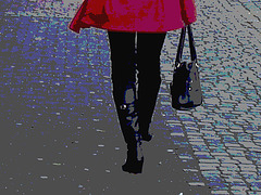 Choklad blond swedish Lady in red with sexy high-heeled boots / Blonde en rouge avec bottes de cuir à talons hauts - Postérisation