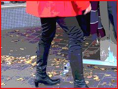 Choklad blond swedish Lady in red with sexy high-heeled boots / Blonde en rouge avec bottes de cuir à talons hauts-  Postérisation avec cadre rouge