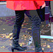Choklad blond swedish Lady in red with sexy high-heeled boots / Blonde en rouge avec bottes de cuir à talons hauts-  Postérisation avec cadre rouge