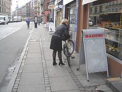 Bageri blonde Danish mature biker in chunky hammer heeled boots /  Copenhagen, Denmark - 19-10-2008