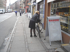 Bageri blonde Danish mature biker in chunky hammer heeled boots
