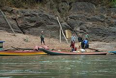 Waiting passengers at Nam Ou riverside