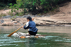 Small raft on Nam Ou river