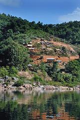 Hanging village on Nam Ou riverbank
