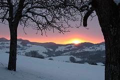 coucher de soleil en savoie