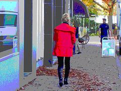 Choklad blond swedish Lady in red with sexy high-heeled boots / Blonde en rouge avec bottes de cuir à talons hauts.- Postérisation aux couleurs ravivées