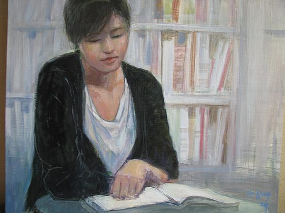 Reading Woman=Leganta virino=讀書女 -acrylic-oil on canvas -45x53cm(10f) -200907